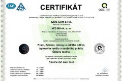 Certifikát ČJ 14016-Q-05